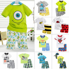Toddler Kid Baby Boy Casual T-shirt Top+Short Pants Trousers Clothes Outfits Set