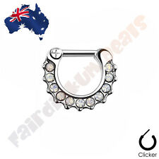 316L Surgical Steel Clear Paved Opalites Septum Ring Clicker (sep65)