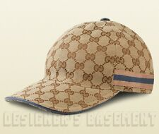GUCCI beige GG canvas Blue & Dusty Pink WEB RIBBON Baseball Hat cap NWT Authentc