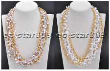 "D0207 6row 21"" Baroque Lamina Reborn KESHI PEARL Chain Necklace"