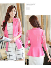 New Elegant Women Candy Color One Button Blazer 3/4 Sleeve Jacket Slim Suit Coat