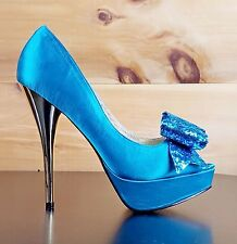 Luichiny Kissy Kiss - Teal Satin Glitter Bow Peep Toe High Heel Pump Shoe 7-11