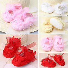 Cute Baby Girls Non-Slip Newborn Infant Baby Lace Frilly Flower Shoes 0-9Months