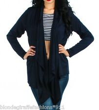 Navy Blue Drape Front Long Sleeve Asymmetrical Cardigan/Cover-Up Plus Top