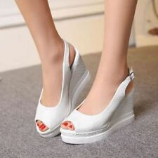 New Womens Buckle Slingback Open Toe Shoes Wedge High Heels Pumps Sandals Strap