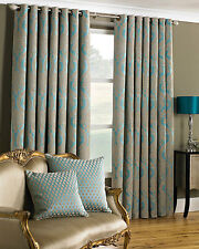 "Ornate CURTAINS Textured Chenille Eyelet Thick Heavy Teal & Golden Beige 66""x72"""