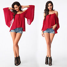 New Sexy Women Spaghetti Strap Off-shoulder Batwing Sleeve Tops Clubwear Blouse