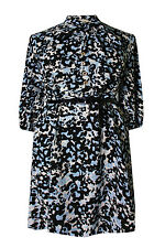 New Ladies Blue Black Pussy Bow Animal Print Dress Plus Size 16 - 26
