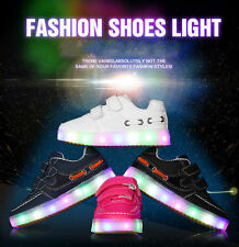 Cute With battery Kids Boys Girls LED Light Up Sports Velcro Sneakers Baby Shoes