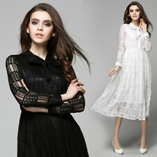 European Fashion Womens Spring Fall Long Sleeve Exquisite Lace Slim Long Dress