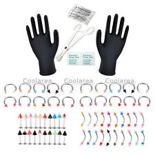 70x PRO 16G Body Piercing Kit Needle Lip Nose Eyebrow Ring Forcep Clamps Kits