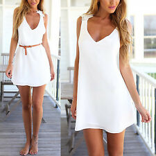 New Women Sexy Deep V Neck Backless Lace Crochet Chiffon Summer Beach Mini Dress