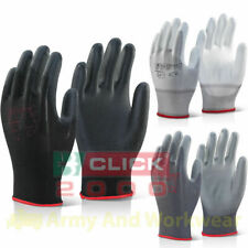10 Pairs x Click Puggy PU Palm Coated on Nylon Liner Precision Work Grip Gloves
