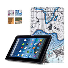 new map patter Tri Fold PU Leather Cover Case Stand For Amazon new kindle Fire 7