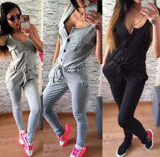 New Womens Casual Botton Summer Jumpsuit Playsuit Bodycon Sports Romper Pants