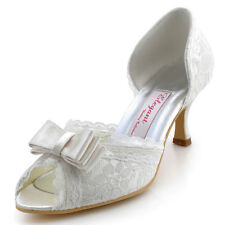 A3201 Ivory Lace Peep Toe Bow Mid Heel Satin Wedding Bridal Court Shoes UK 2-9