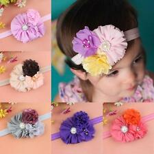 Cute Baby Girls Kids Cloth Pearl Rhinestone Flower Headband Headwear Accessories