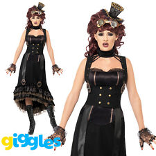 Steam Punk Vampire Costume Womens Ladies Halloween Vampiress Fancy Dress Outfit