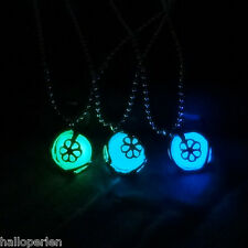 HP Fashion Women Round Noctilucent Necklace Pendant Alloy Hollow Out Love Flower