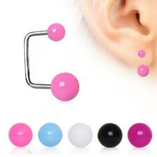 316L Surgical Steel Loop Cartilage Earring UV Acrylic Balls 18G