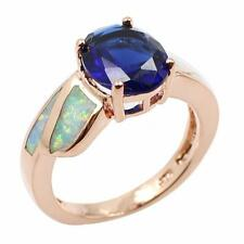 Authentic Solid 925 Sterling Silver CZ Opal Ring Rose Gold GP Size 6 7 8 9 Q5Q8