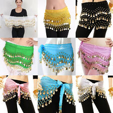New Lady Sexy Soild Scarf Wrap Belt With 98 Golden Coins Belly Dance Hip Skirt