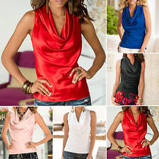 Womens Sexy Cowl Neck Draped Vest Top Sleeveless Blouse Casual Tank Tops T Shirt