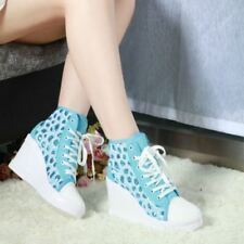 Womens Canvas  Wedge Platform Lace Up Sneakers Summer Korean Preppy Sandal Shoes