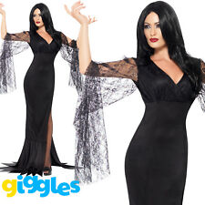 Ladies Immortal Soul Costume Morticia Addams Family Female Fancy Dress Outfit