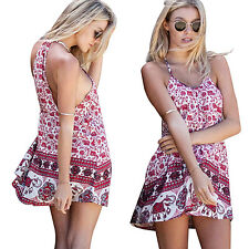 Women Fashion Sexy Summer Floral Halter Short Mini Clubwear Dress Beach Sundress
