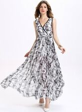 Womens sexy Floral Print V-Neck  Beach dresses Goddess Party Dress Glamorous