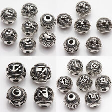 10/20Pcs Hollow Out Tibetan Silver Round Carved Loose Beads Crafts Making 8mm