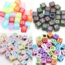 Lots 50/100X Colorful Acrylic Alphabet Cube Smooth Spacer Bead Finding 5*5*5mm