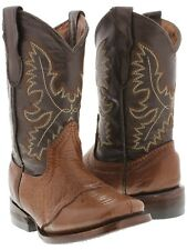 boys kids youth honey brown real leather western cowboy boots square toe riding