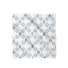 Delft Blue Holland Pottery Satin Style Scarf - Bandana in 3 sizes