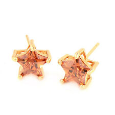 Gorgeous & Shiny Star 18K Gold Plated Cubic Zirconia Stud Earrings