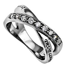 Womens Stainless Steel Twin Band Radiance Ring True Love Waits Sizes 5 to 9