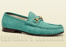 GUCCI mens 8.5* teal Nubuck 1953 ROOS gold HORSEBIT Loafers shoes NIB Authentic!