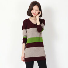 Winter Women V-Neck Striped Cashmere Pullover Long Sweater Warm Top Blouse