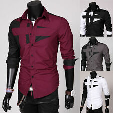 Mens Luxury Casual Slim Fit Button Up Long Sleeve Formal Dress T Shirts Tops Tee