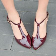 Womens Patent Leather Pointed Toe T-Strap Stiletto Heels Pumps Court Shoes Size