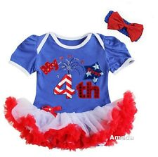 Baby First 4th of July Fireworks Blue White Red Bodysuit Tutu and Headband