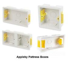 Appleby White SINGLE and DOUBLE Dry Lining Plaster Board Pattress Back Box