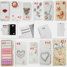 Bling Crystal Diamonds Pearls PU leather Flip Wallet Pouch Case Cover For HTC