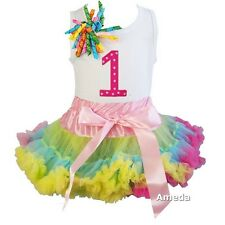 Pink Lime Blue Colorful Pettiskirt Tutu Hot Pink Polka Dots 1st Birthday Dress