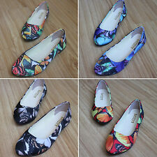 New Women Floral Print Flat Ballerina Pumps Ballet Loafers Casual Shoes Slippers