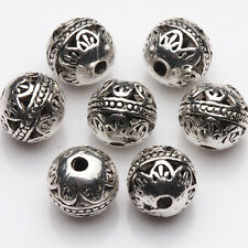 10/20X Tibet Silver Plated Floral Carved Round Loose Spacer Beads Jewelry Making