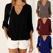 New Womens Long Sleeve Blouse Chiffon V Neck Shirt Tee Sexy Loose Casual T-Shirt