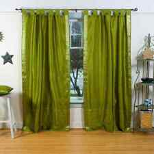 Olive Green  Tab Top  Sheer Sari Curtain / Drape / Panel  - Pair