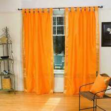 Pumpkin  Tab Top  Sheer Sari Curtain / Drape / Panel  - Piece